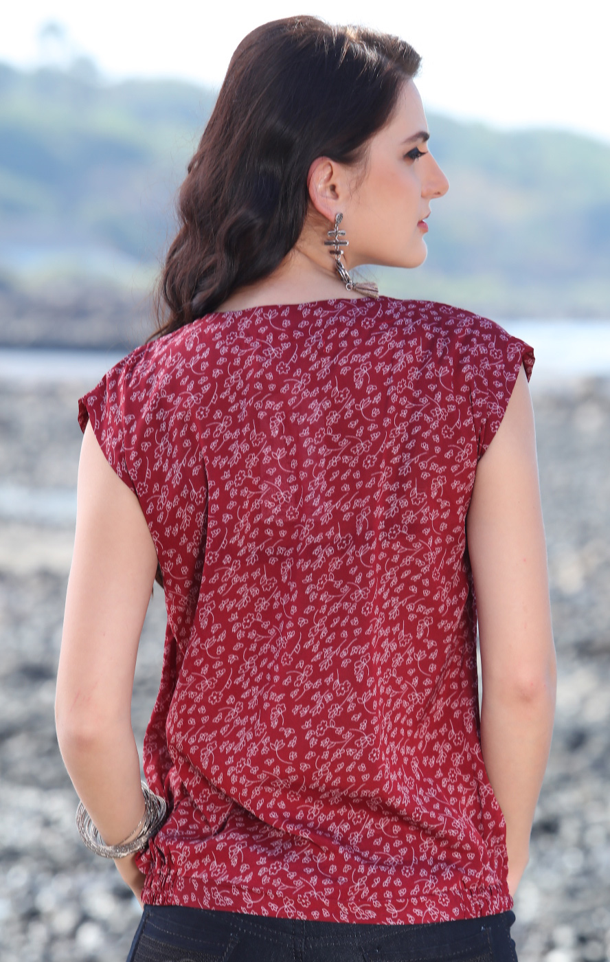 Lovely Maroon Floral Printed Casual Top