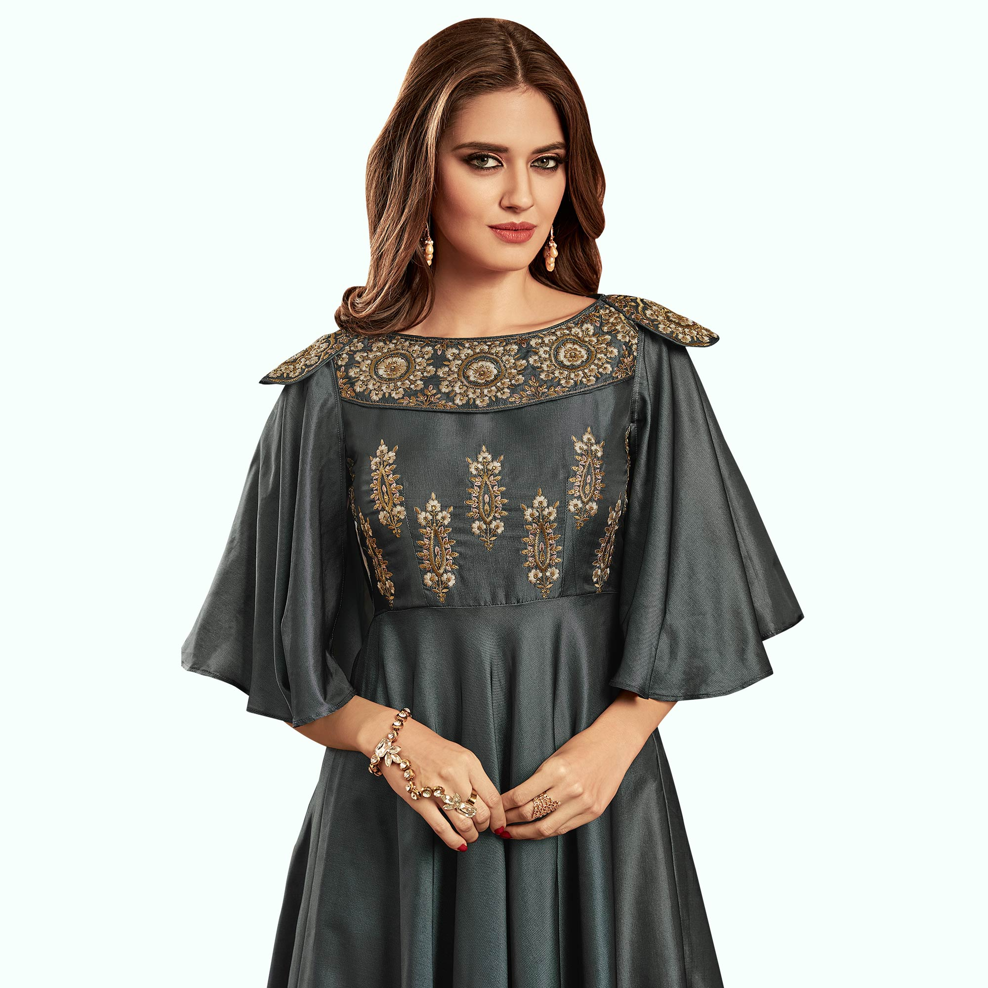 Demanding Dark Gray Colored Party Wear Embroidered Tapeta Silk Gown