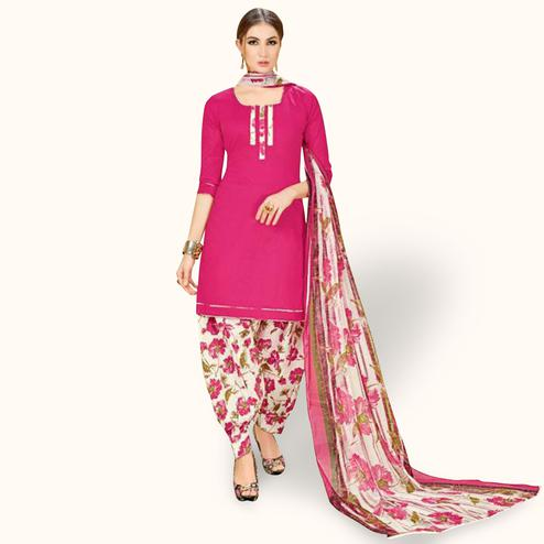 Hypnotic Deep Pink Colored Casual Wear Printed Crepe Patiala Suit