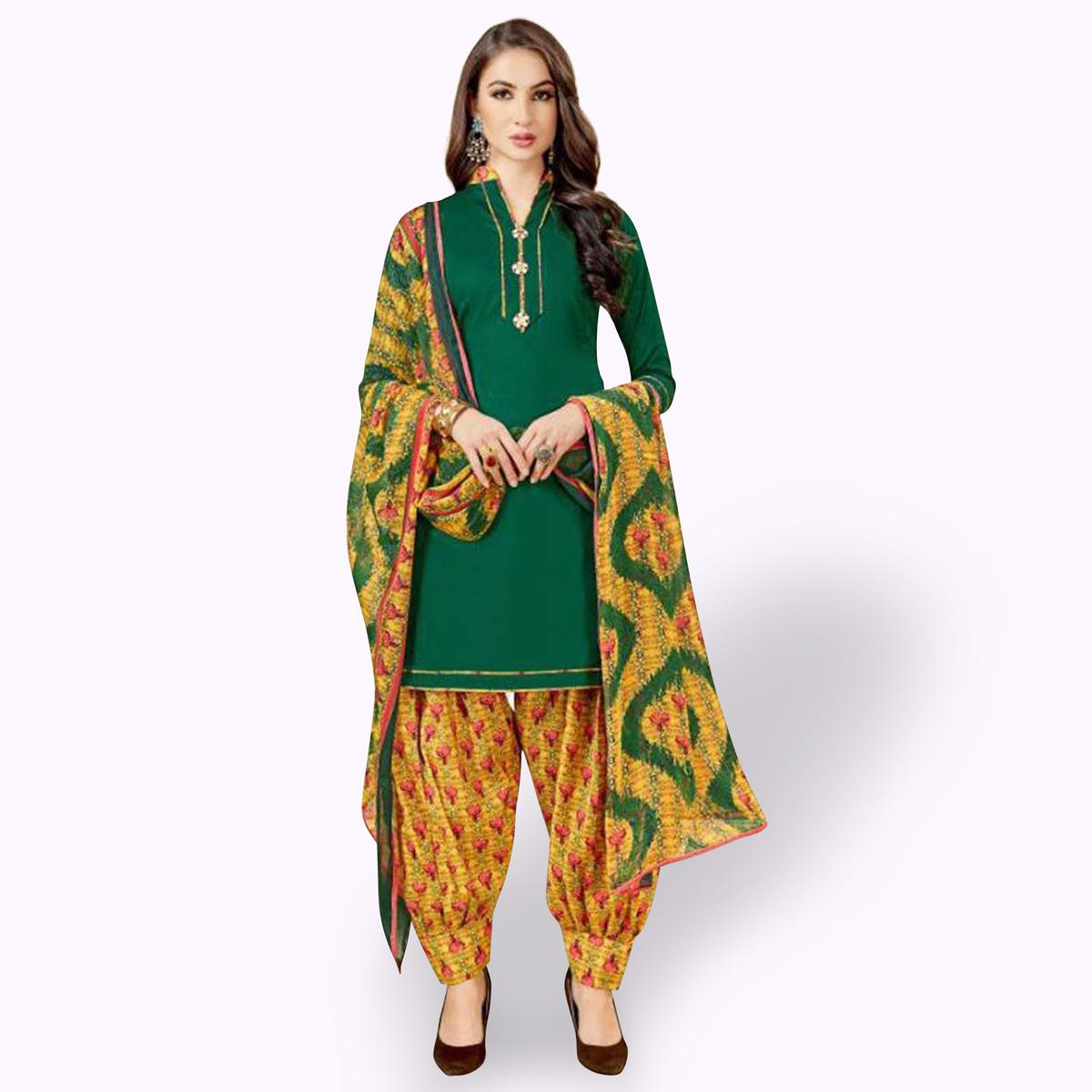 Elegant Green Colored Casual Wear Printed Crepe Patiala Suit