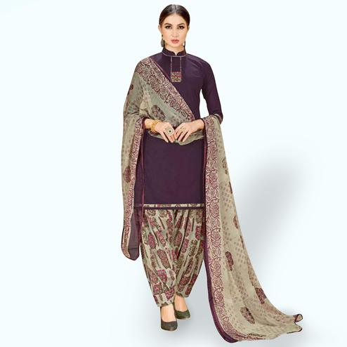Excellent Violet Colored Casual Wear Printed Crepe Patiala Suit