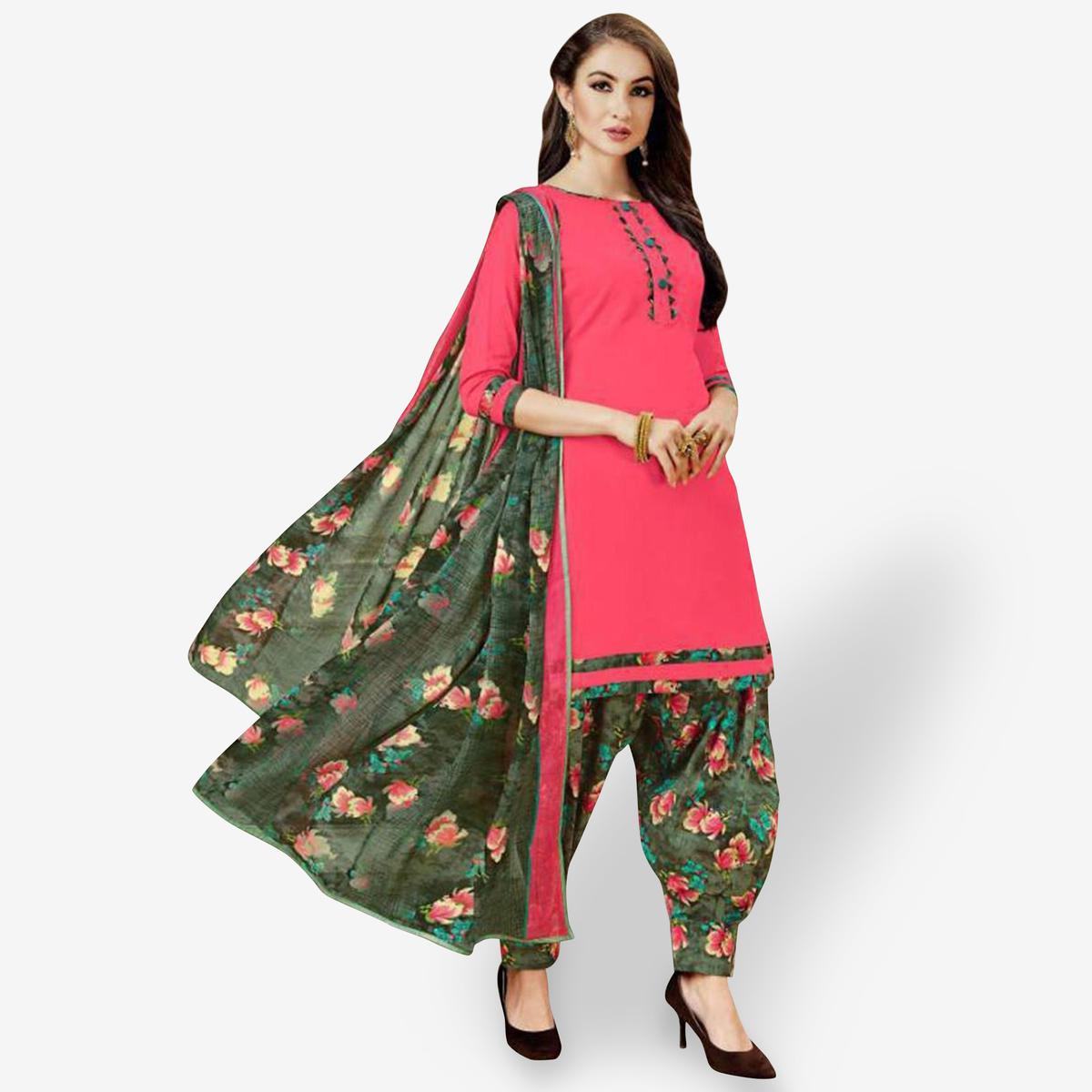 Impressive Pink Colored Casual Wear Printed Crepe Patiala Suit
