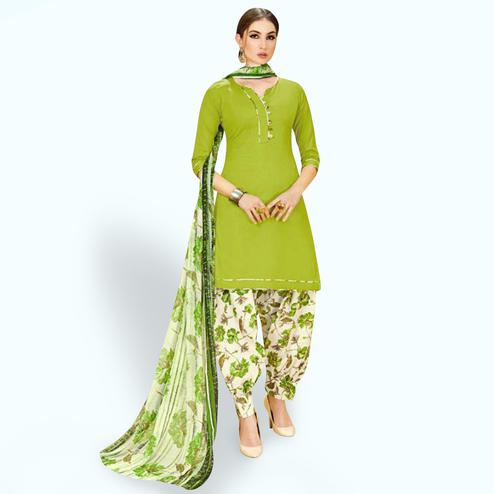 Ethnic Pear Green Colored Casual Wear Printed Crepe Patiala Suit