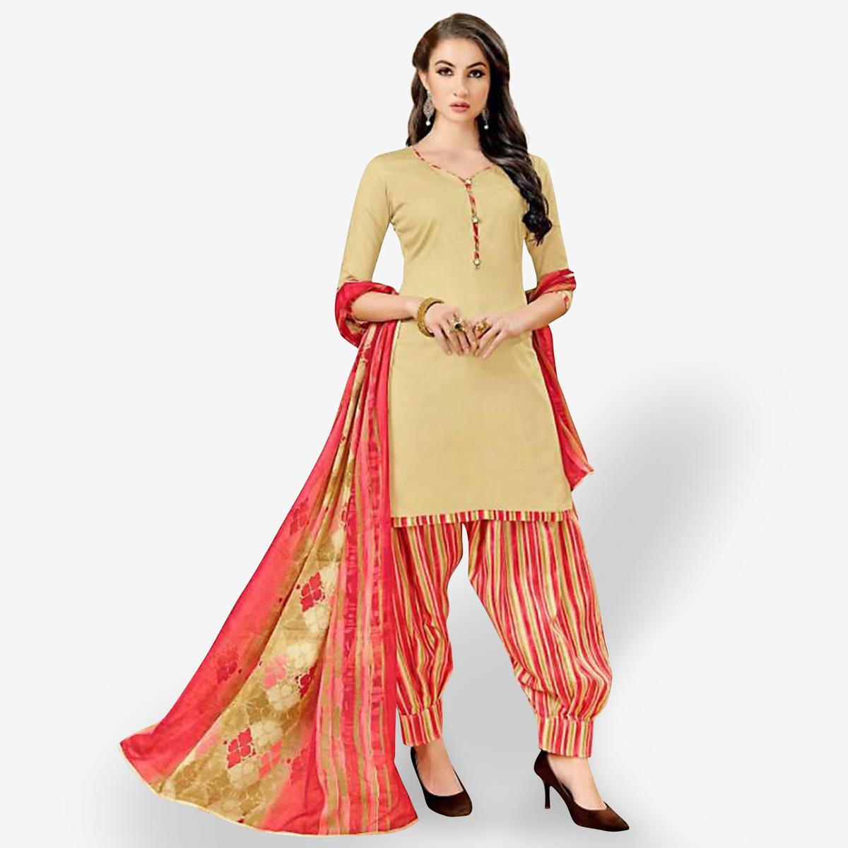 Alluring Beige Colored Casual Wear Printed Crepe Patiala Suit