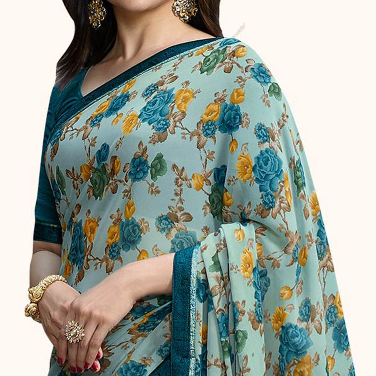 Glowing Pastel Blue Colored Casual Wear Printed Georgette Saree