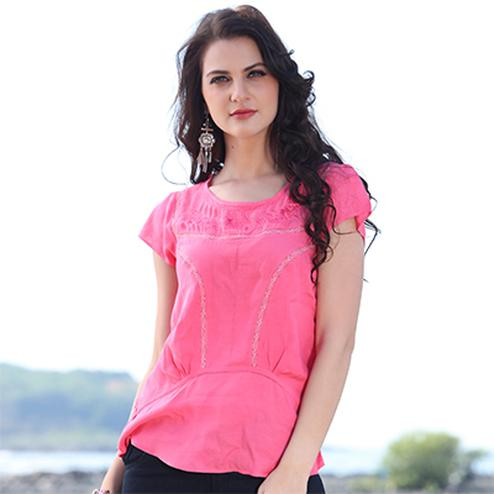 Adorable Pink Casual Top