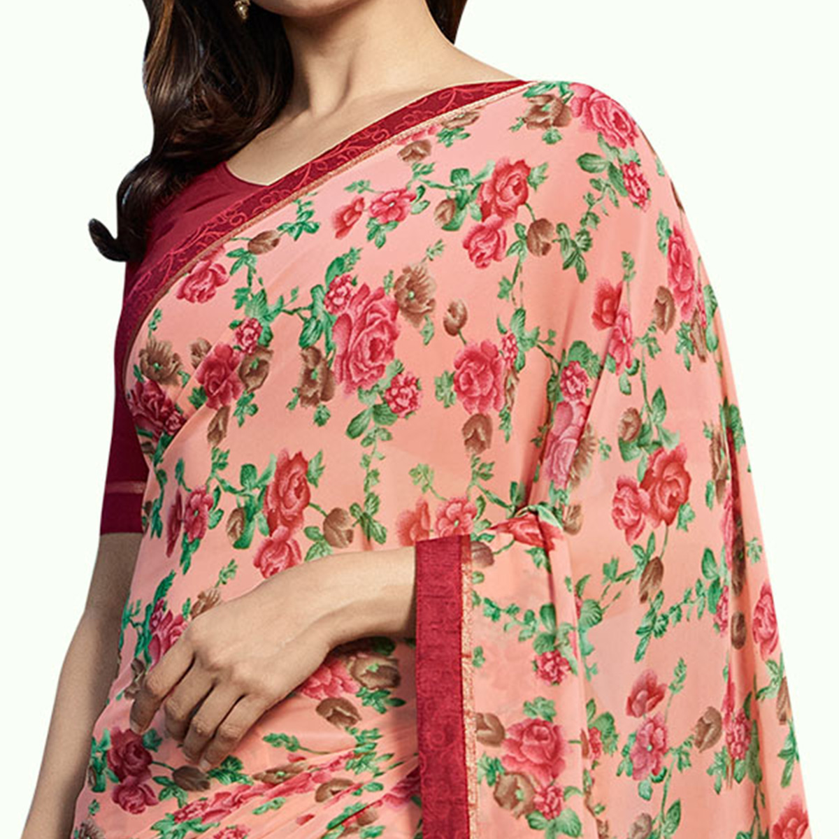 Exceptional Pastel Pink Colored Casual Wear Printed Georgette Saree