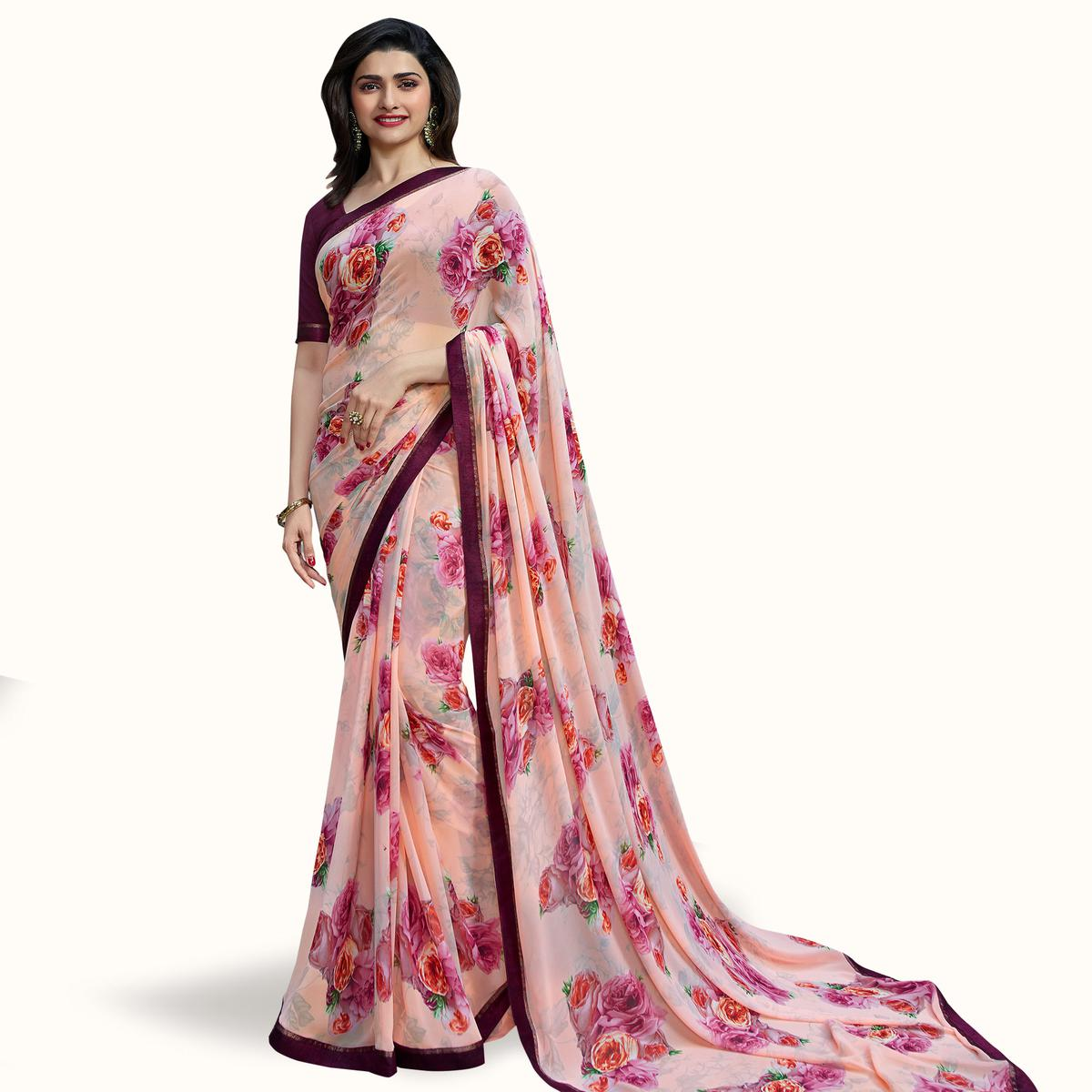Mesmeric Light Pink Colored Casual Wear Printed Georgette Saree