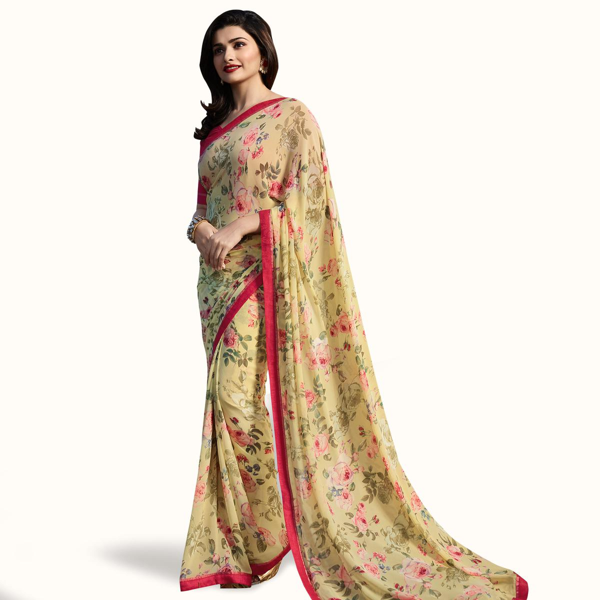 Unique Pastel Yellow Colored Casual Wear Printed Georgette Saree