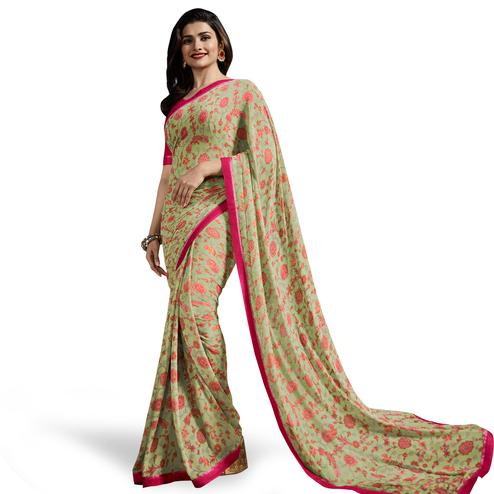 Demanding Pastel Olive Green Colored Casual Wear Printed Georgette Saree