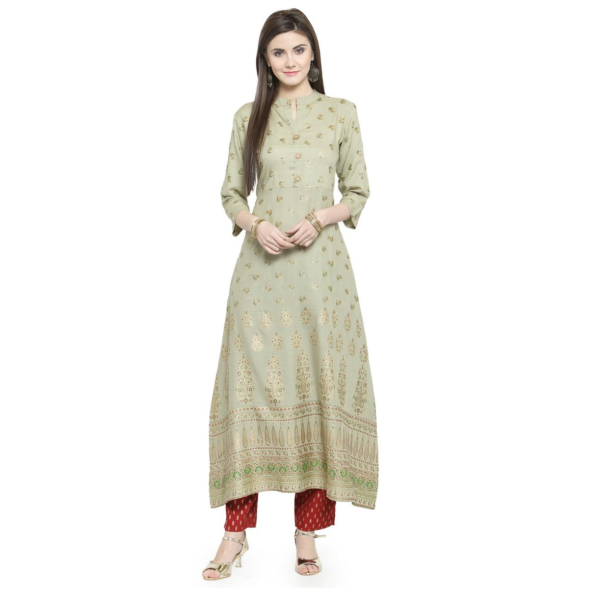 Hypnotic Light Olive Green Colored Casual Wear Printed Rayon Kurti