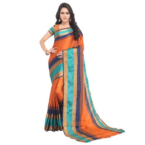 Refreshing Orange Colored Festive Wear Tussar Silk Saree