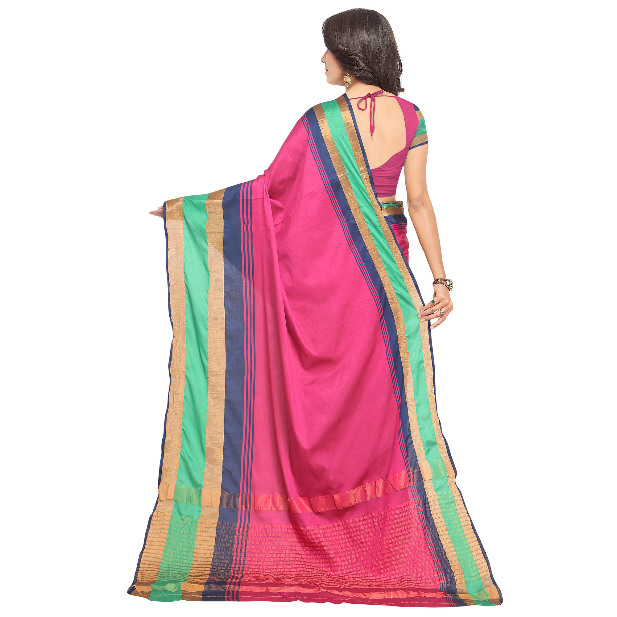 Magnetic Pink Colored Festive Wear Tussar Silk Saree