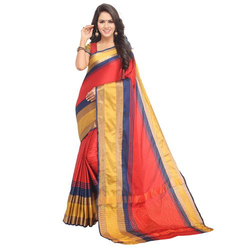 Hypnotic Red Colored Festive Wear Tussar Silk Saree
