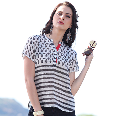 Stylish White Casual Printed Top