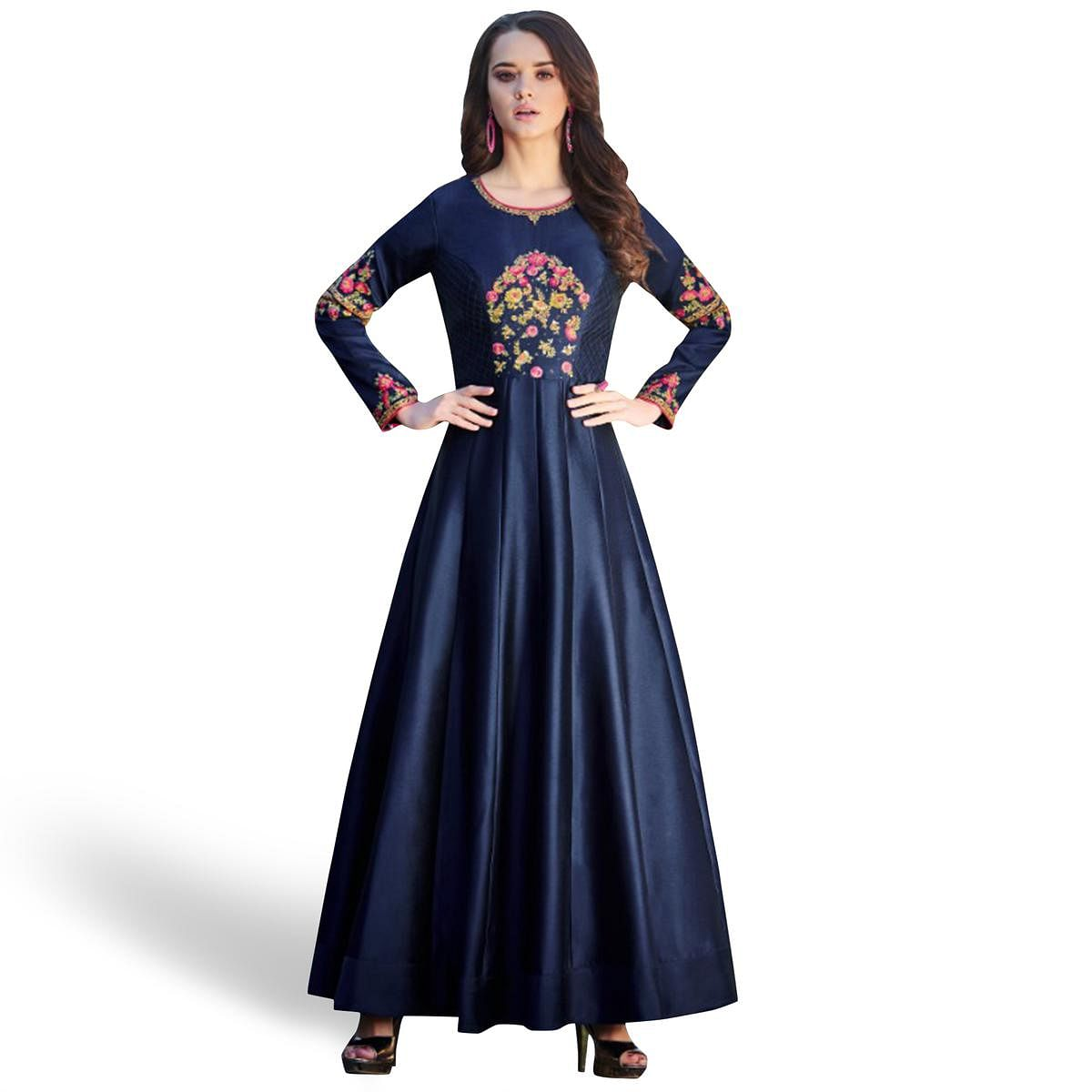 Pleasant Navy Blue Colored Partywear Embroidered Tapetta Satin Silk Gown