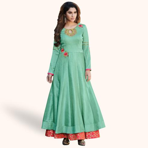 Opulent Sea Green Colored Partywear Embroidered Cotton Silk Gown