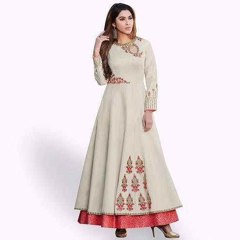 Impressive Off White Colored Partywear Embroidered Cotton Silk Gown