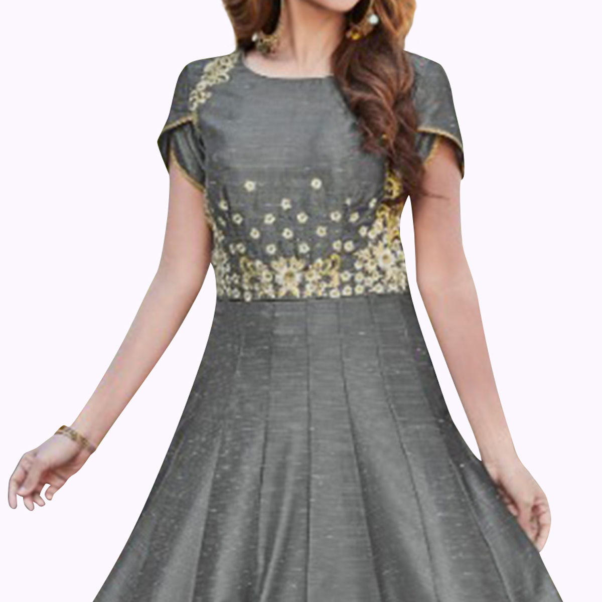 Graceful Gray Colored Partywear Embroidered Cotton Silk Gown