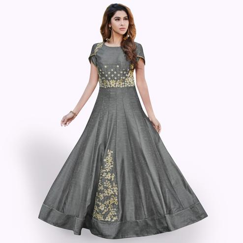 Graceful Gray Colored Partywear Embroidered Muslin Silk Gown