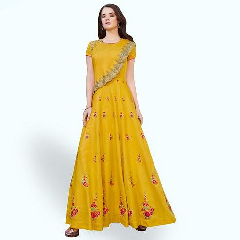 Exceptional Mustard Yellow Colored Partywear Embroidered Cotton Silk Gown