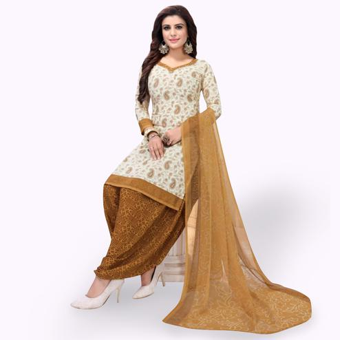 Elegant Off White Colored Casual Wear Printed Leon Patiala Suit