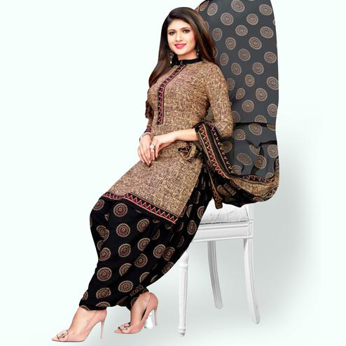 Excellent Brown Colored Casual Wear Printed Leon Patiala Suit