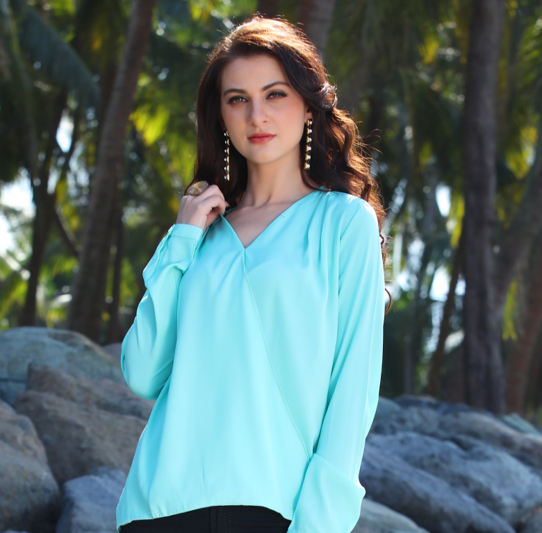 Cool Blue Casual Wear Top