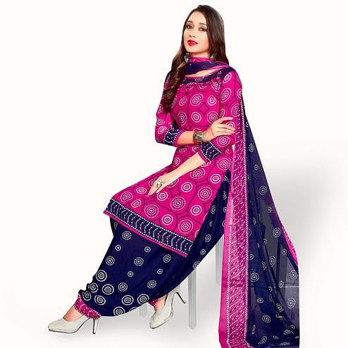 Breathtaking Pink Colored Casual Wear Printed Leon Patiala Suit