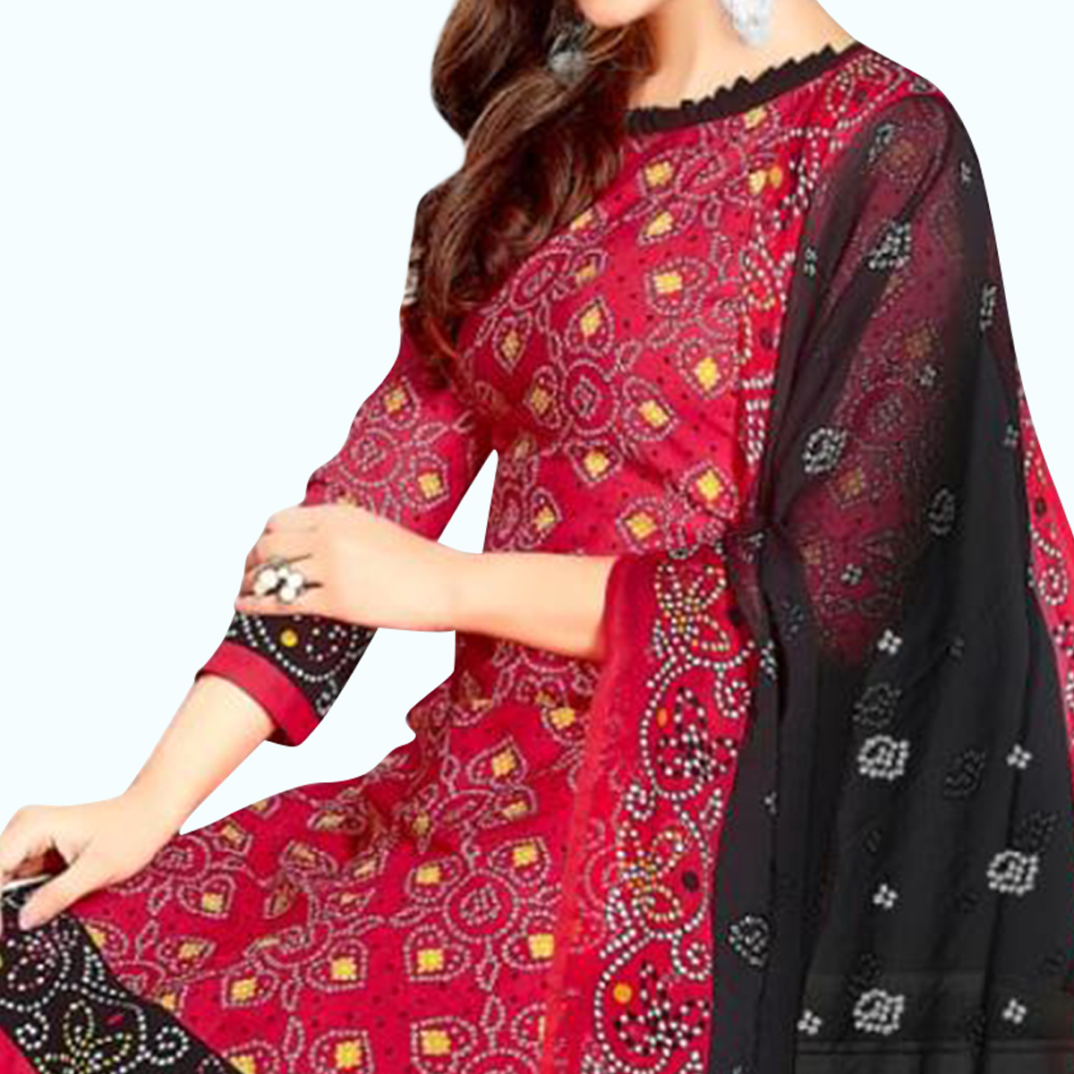 Impressive Red Colored Casual Wear Printed Leon Patiala Suit