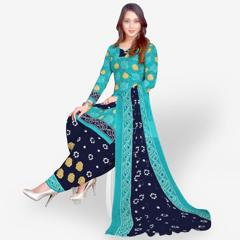 Flamboyant Sky Blue Colored Casual Wear Printed Leon Patiala Suit
