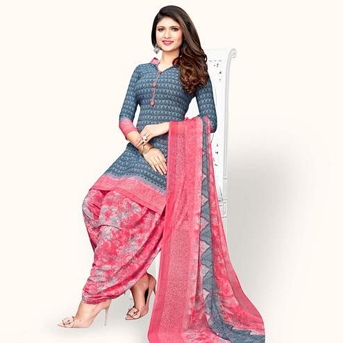 Ethnic Gray Colored Casual Wear Printed Leon Patiala Suit