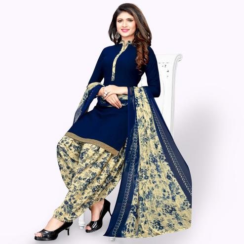 Alluring Navy Blue Colored Casual Wear Printed Leon Patiala Suit