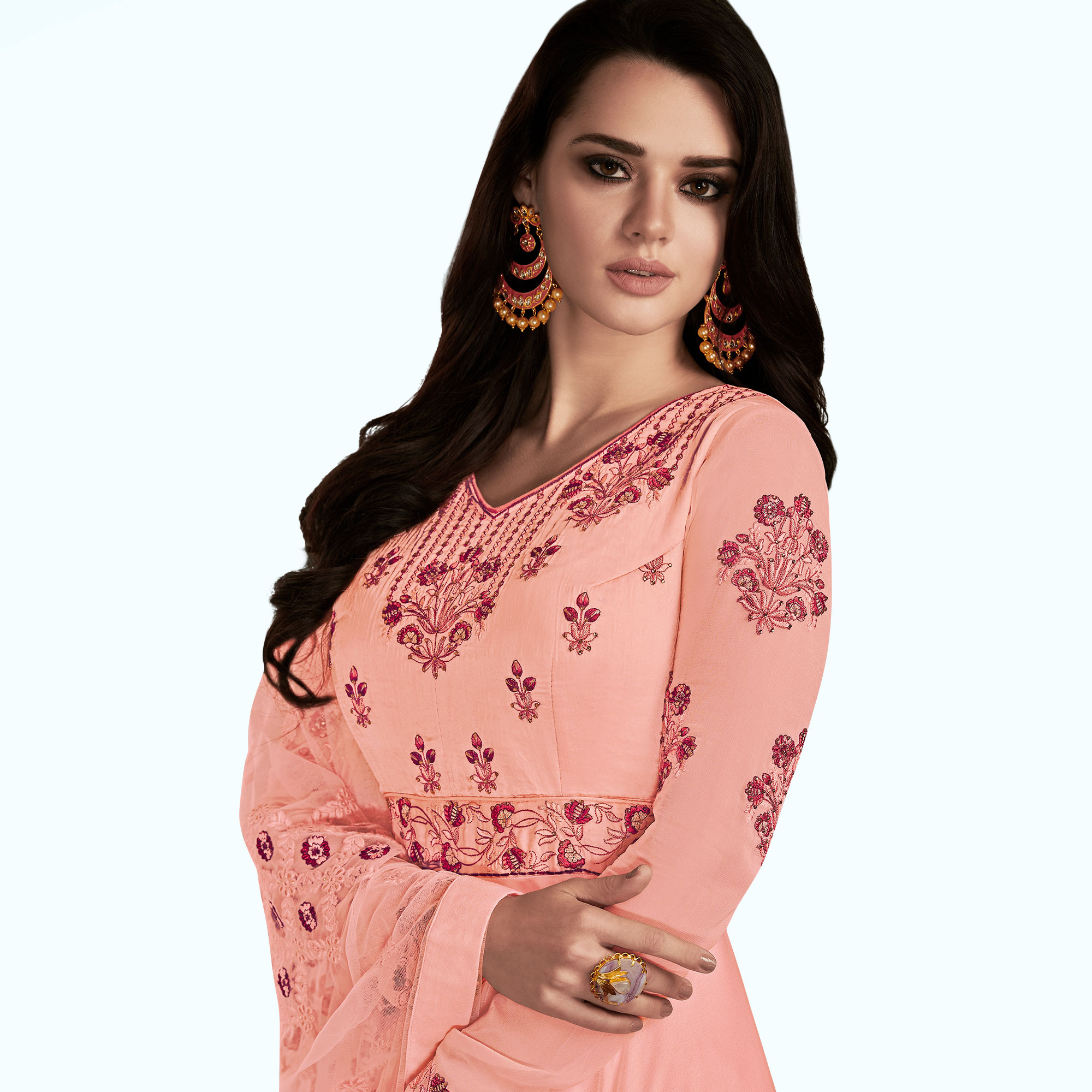 Appealing Pink Colored Partywear Embroidered Georgette Satin Anarkali Suit