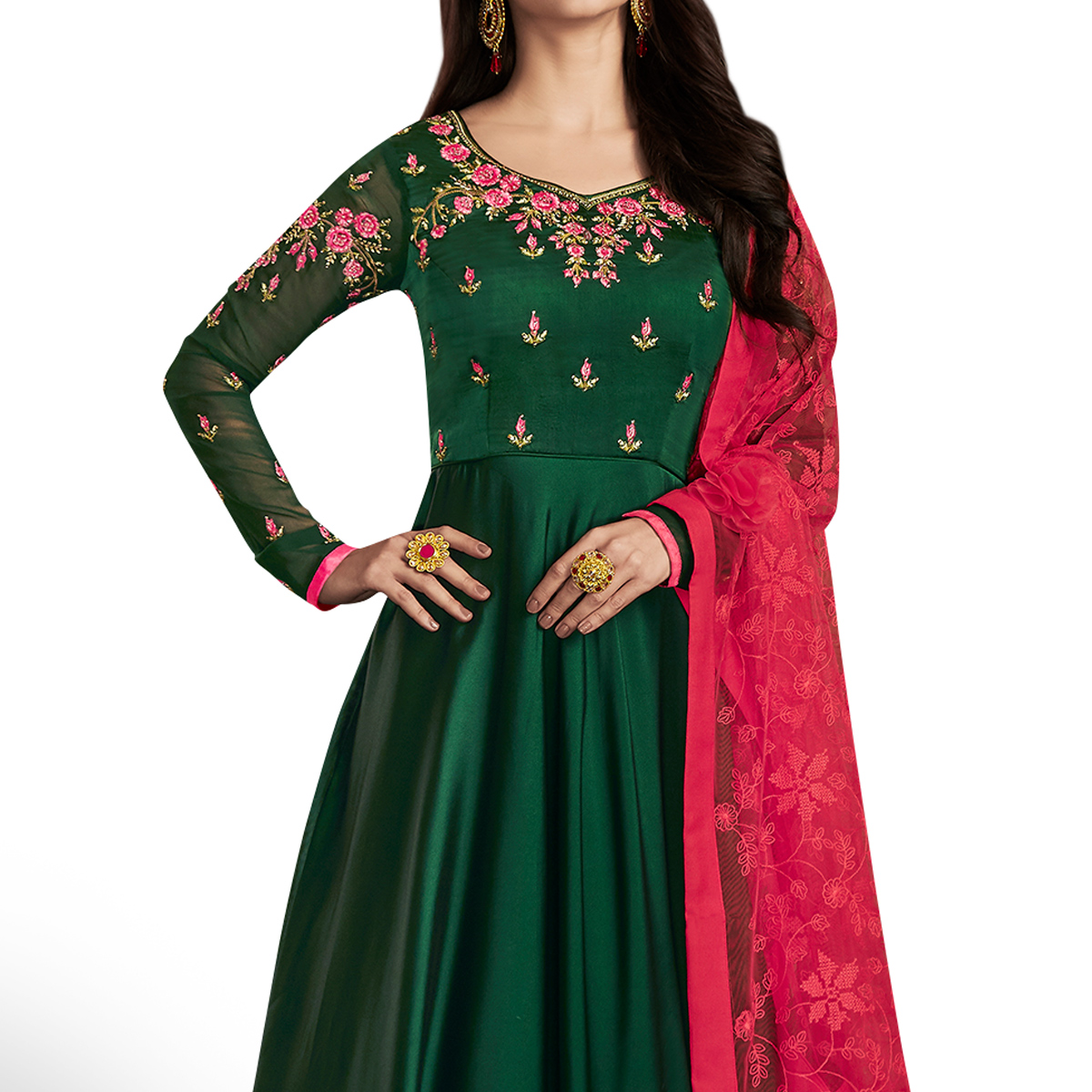 Innovative Green Colored Partywear Embroidered Georgette Satin Anarkali Suit