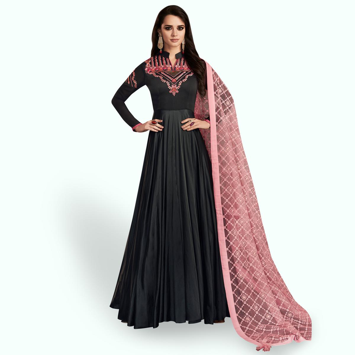 Groovy Black Colored Partywear Embroidered Georgette Satin Anarkali Suit