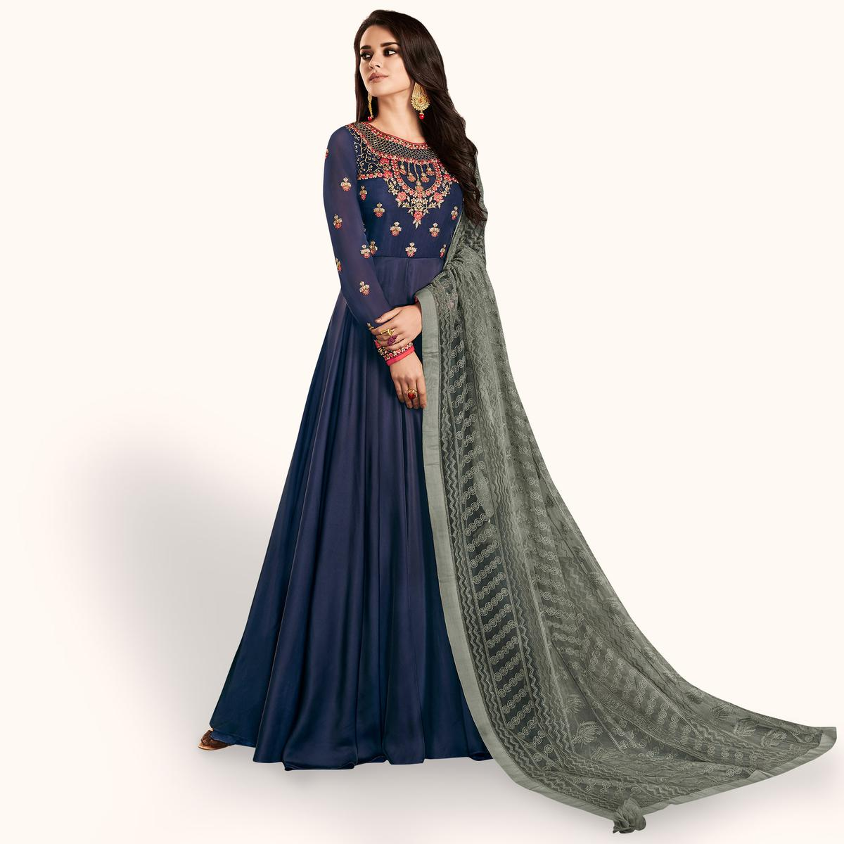 Prominent Navy Blue Colored Partywear Embroidered Georgette Satin Anarkali Suit