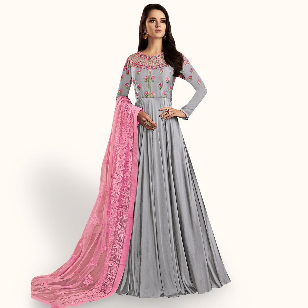 Captivating Gray Colored Partywear Embroidered Georgette Satin Anarkali Suit