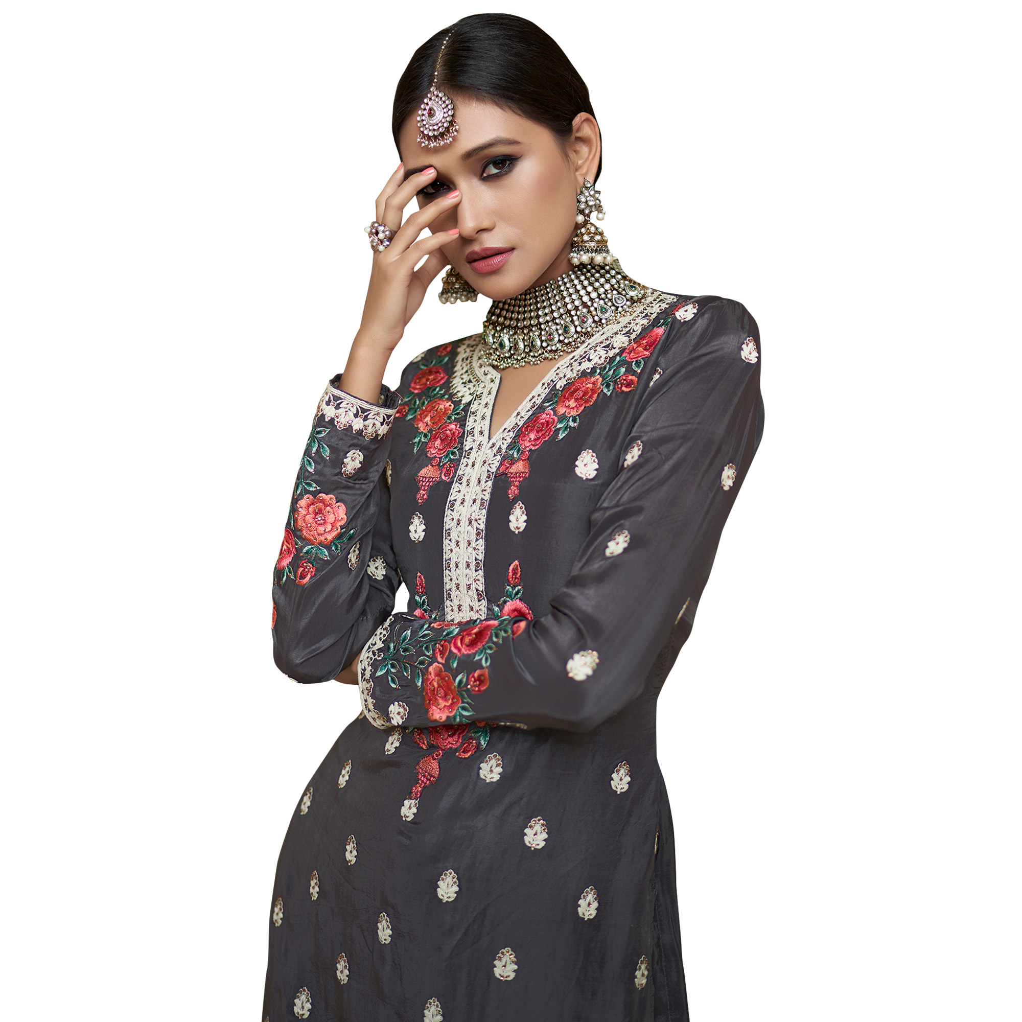 Fantastic Dark Gray Colored Partywear Embroidered Uppada Silk Palazzo Suit