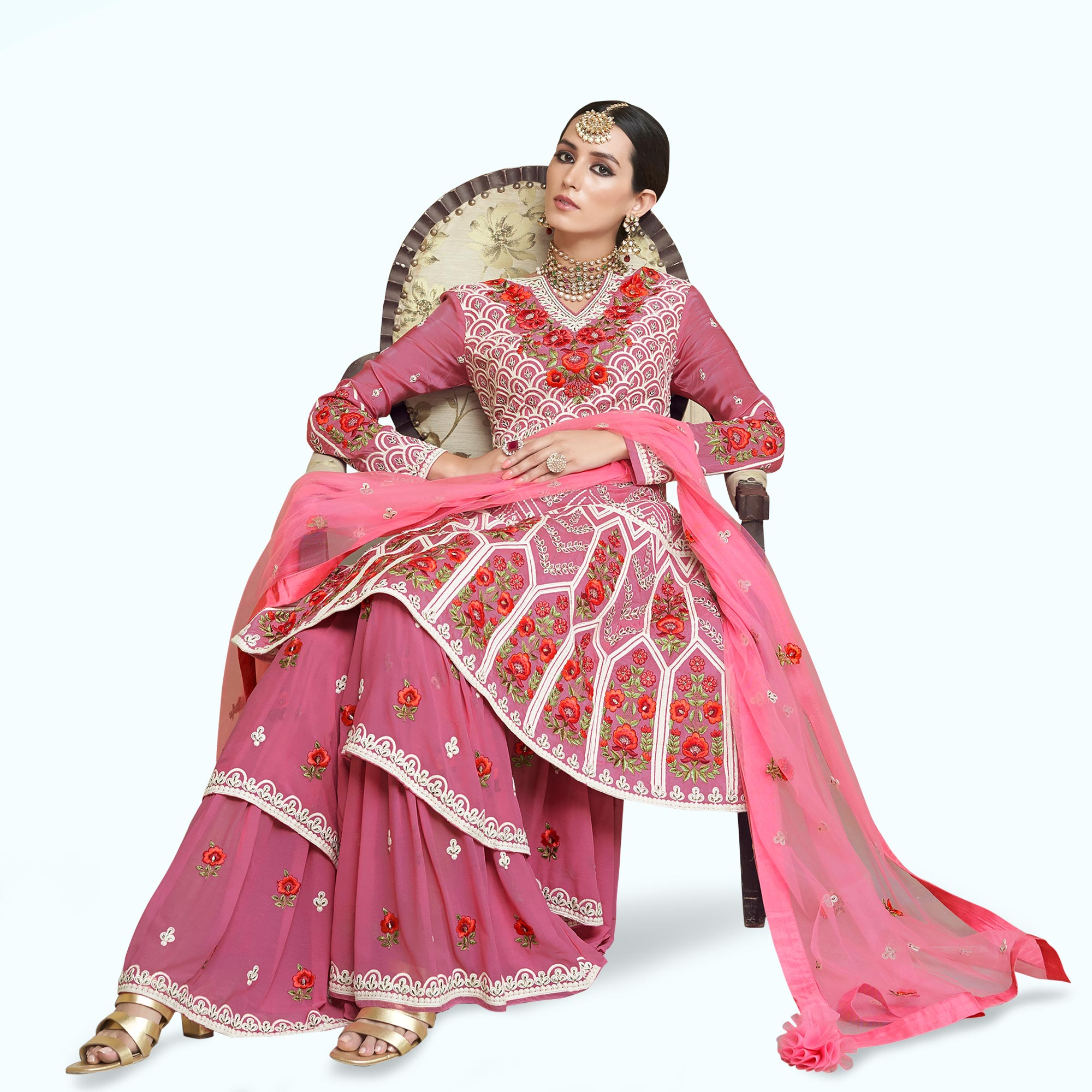 Amazing Pink Colored Partywear Embroidered Uppada Silk Palazzo Suit