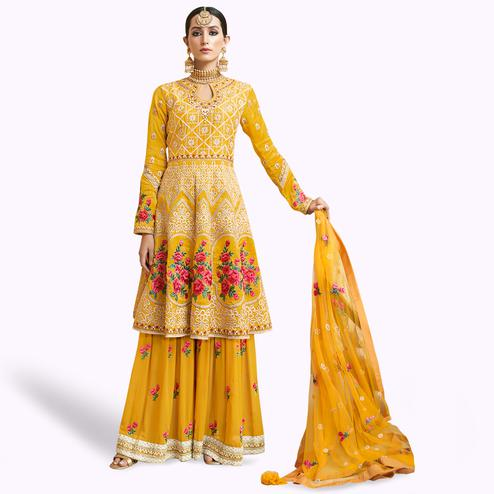Gorgeous Yellow Colored Partywear Embroidered Uppada Silk Palazzo Suit