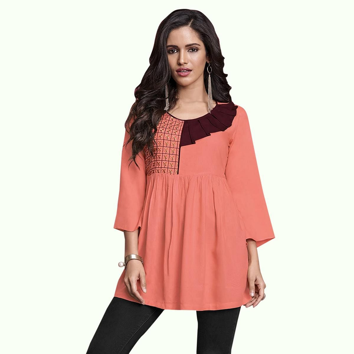 Jazzy Peach Colored Partywear Embroidered Rayon Western Top