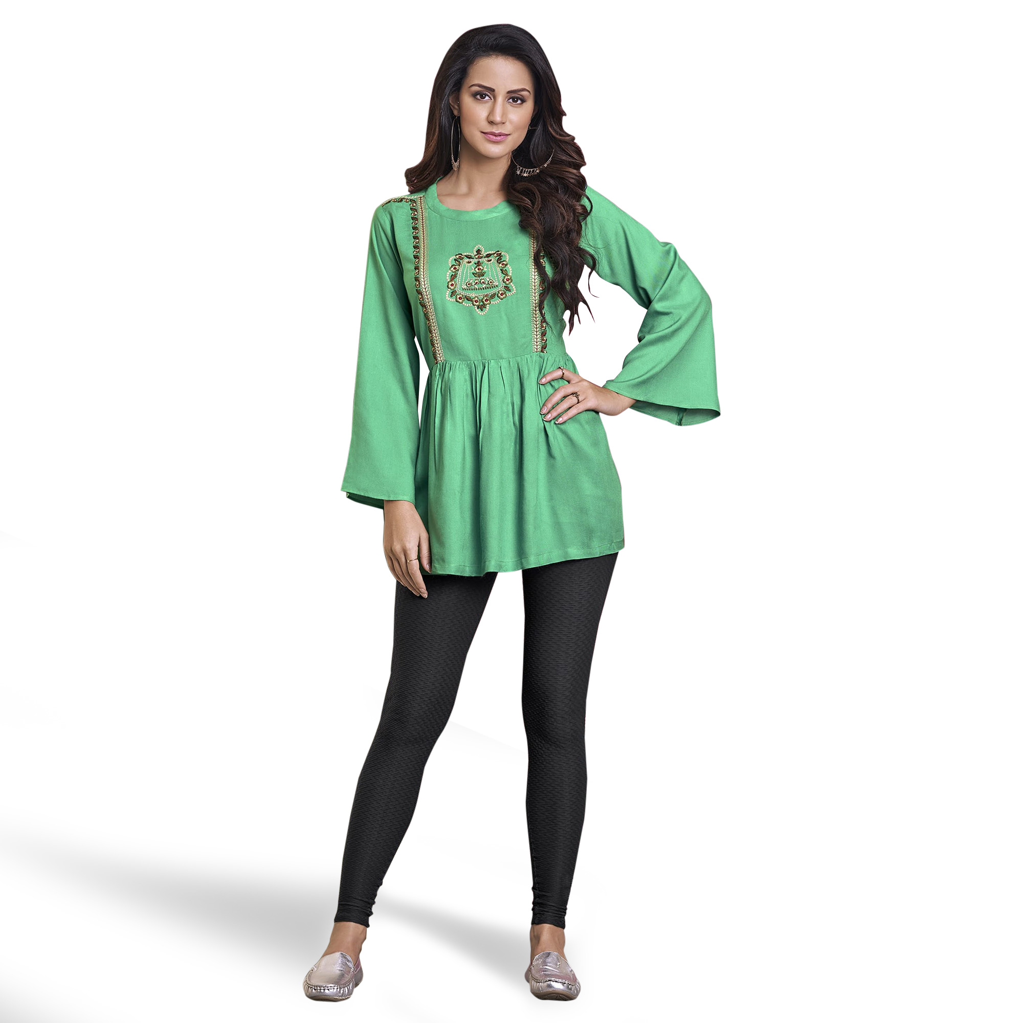 Adorning Green Colored Partywear Embroidered Rayon Western Top