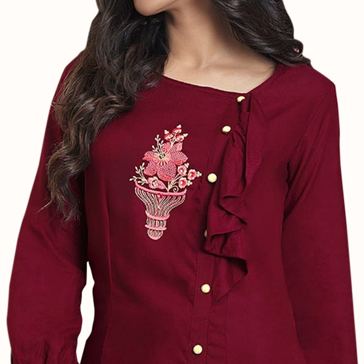 Appealing Red Colored Partywear Embroidered Rayon Western Top