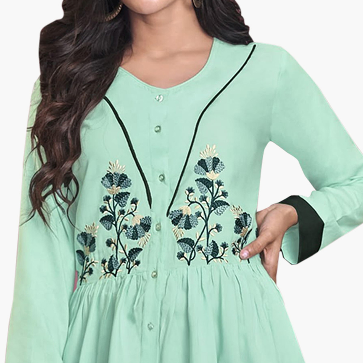 Capricious Aqua Green Colored Partywear Embroidered Rayon Western Top