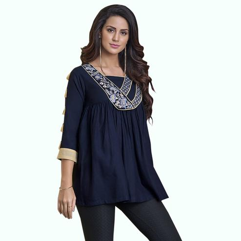 Gleaming Navy Blue Colored Partywear Embroidered Rayon Western Top