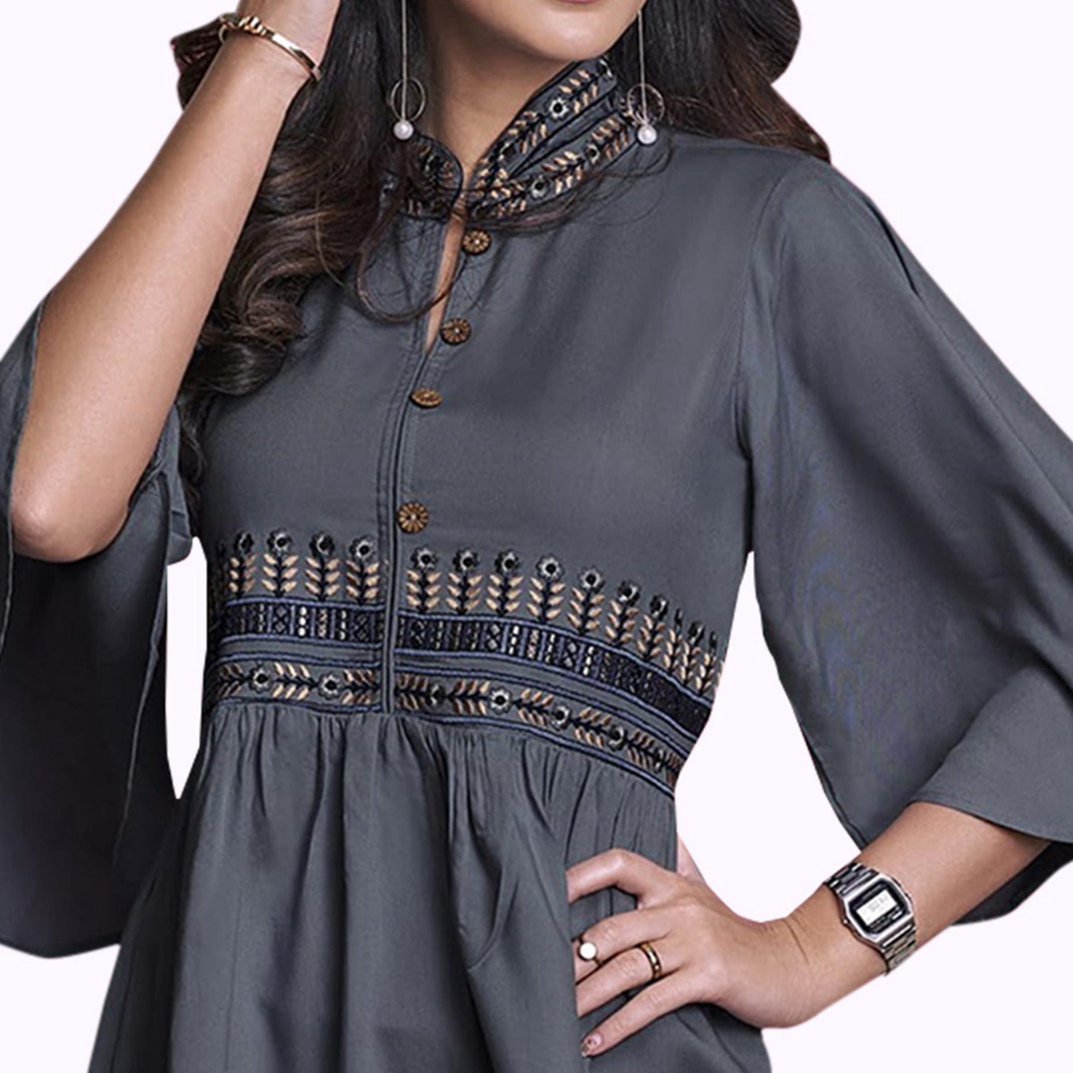 Captivating Dark Gray Colored Partywear Embroidered Rayon Western Top