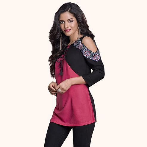Groovy Pink-Black Colored Partywear Embroidered Rayon Western Top
