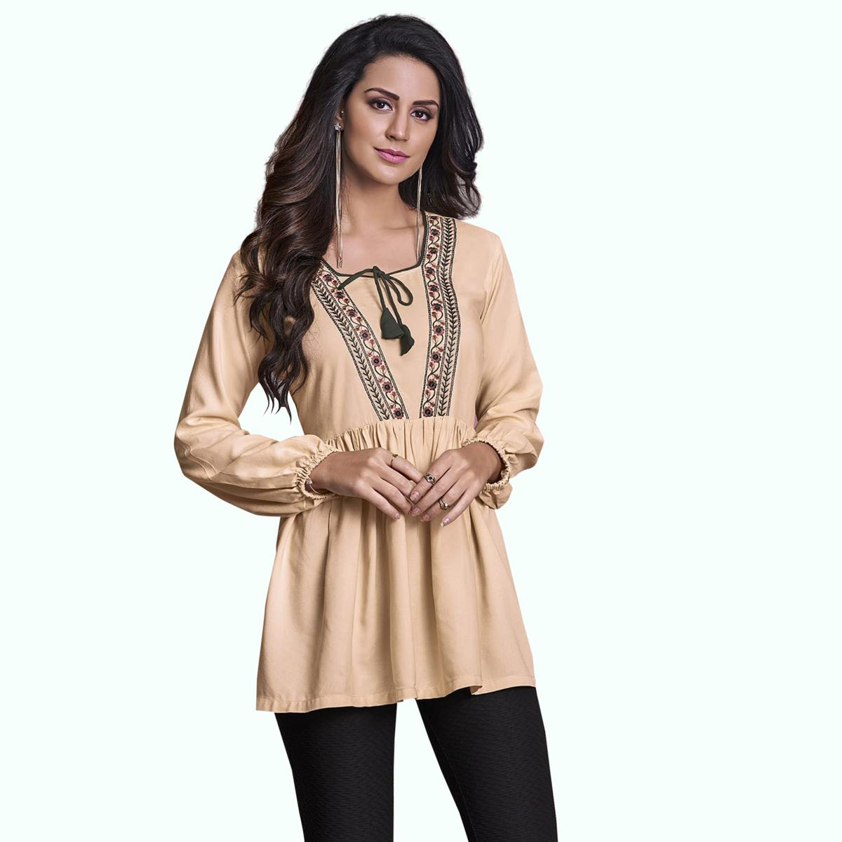 Demanding Beige Colored Partywear Embroidered Rayon Western Top