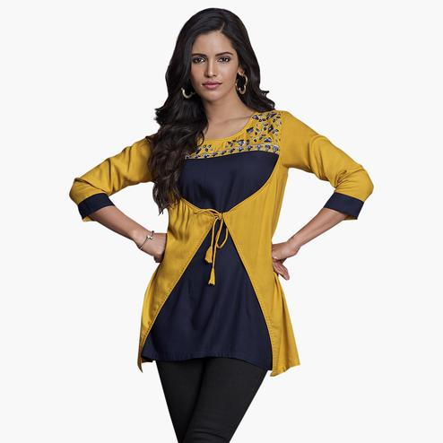 Refreshing Yellow-Navy Blue Colored Partywear Embroidered Rayon Western Top